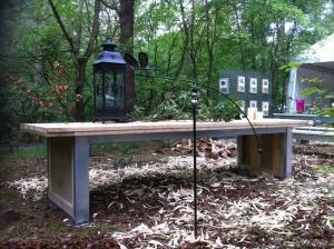 steigerhouten tafel met stalen onderstel-419