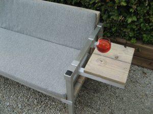 GSD-COLLECTION steigerhout bank met geborsteld aluminium -0