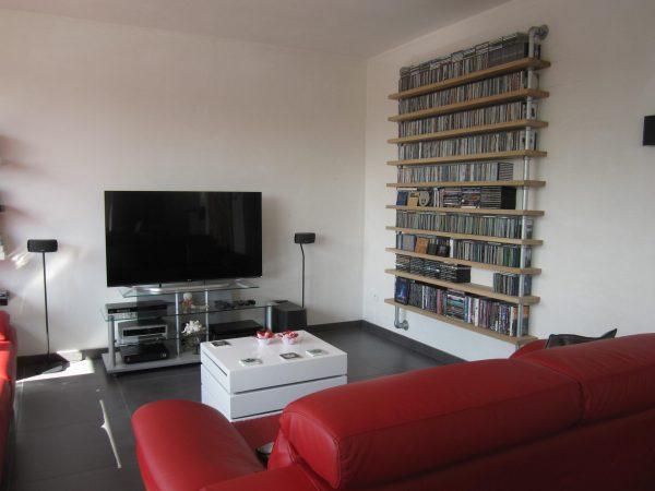 cd-rack van steigerbuis en steigerhout-744