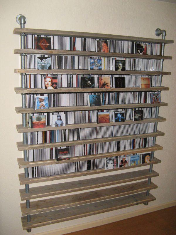 cd-rack van steigerbuis en steigerhout-547